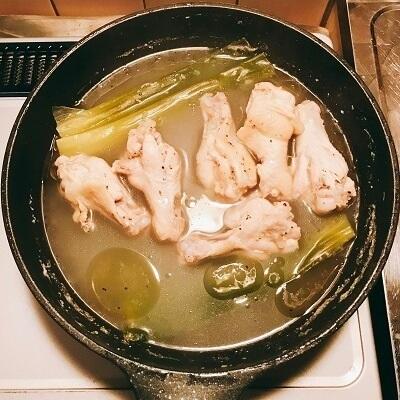 鶏の手羽元、塩ラーメン、煮込み時間